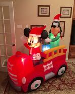 Gemmy Prototype Mickey and Goofy in fire Truck Inflatable Airblown