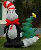 GEMMY 8FT DR. SEUSS' CAT IN THE HAT W CHRISTMAS TREE LIGHTED AIRBLOWN INFLATABLE
