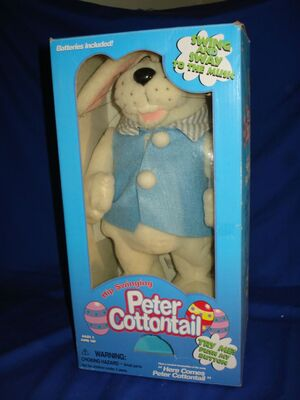 Hip swinging Peter Cottontail singing dancing Easter Bunny