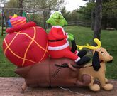 Gemmy Airblown Inflatable Grinch In Sleigh With Max Christmas Great Condition!