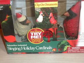 Interactive Singing Holiday Cardinals Birds ''Winter Wonderland'' Ornaments NIB