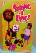 Gemmy String-a-Lings Plush Puppet Stringpanzee Over 2 Tall 2001 Chimp Monkey