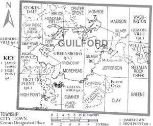 Map of Guilford County North Carolina With Municipal and Township Labels