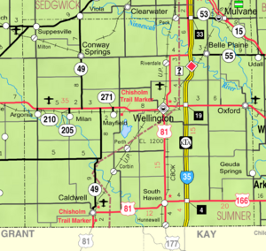 Map of Sumner Co, Ks, USA