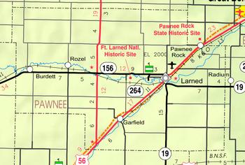 Map of Pawnee Co, Ks, USA