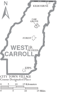 Map of West Carroll Parish Louisiana With Municipal Labels
