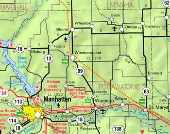 Map of Pottawatomie Co, Ks, USA