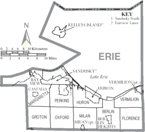 Map of Erie County Ohio With Municipal and Township Labels