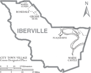 Map of Iberville Parish Louisiana With Municipal Labels