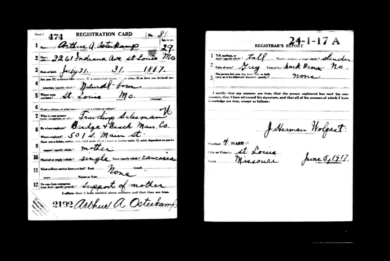 Arthur Osterkamp military registration card