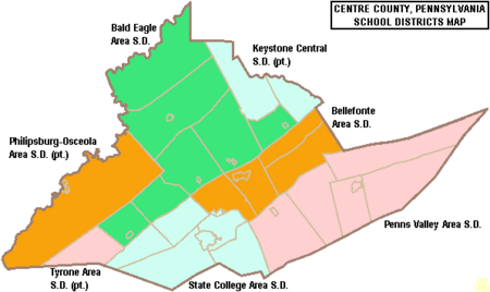 Map of Centre County Pennsylvania School Districts