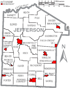 Map of Jefferson County Pennsylvania With Municipal and Township Labels