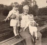 Ralph Herman Freudenberg I (1931-1992); Algernon E. Skinner (1867-1943); and Richard Charles Freudenberg II (1932-2006) circa 1933