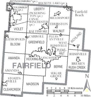 Map of Fairfield County Ohio With Municipal and Township Labels