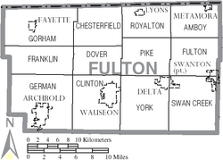 Map of Fulton County Ohio With Municipal and Township Labels