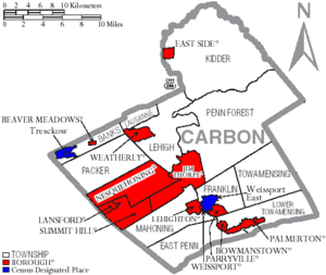 Map of Carbon County Pennsylvania With Municipal and Township Labels