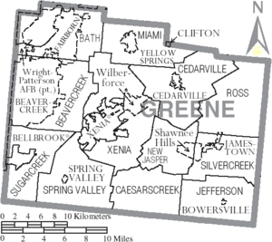 Map of Greene County Ohio With Municipal and Township Labels