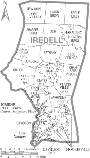 Map of Iredell County North Carolina With Municipal and Township Labels