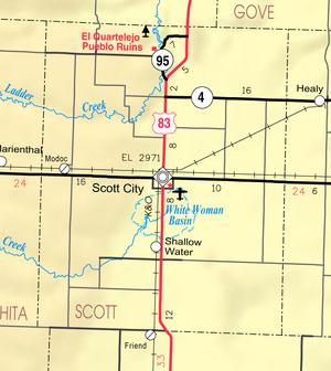 Map of Scott Co, Ks, USA
