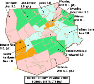 Map of Luzerne County Pennsylvania School Districts