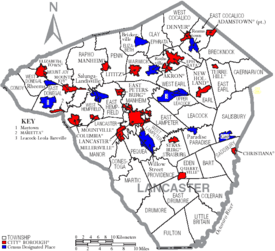 Map of Lancaster County Pennsylvania With Municipal and Township Labels