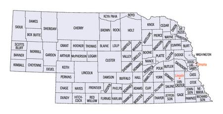 Nebraska counties map