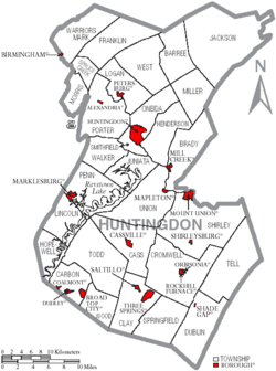 Map of Huntingdon County Pennsylvania With Municipal and Township Labels