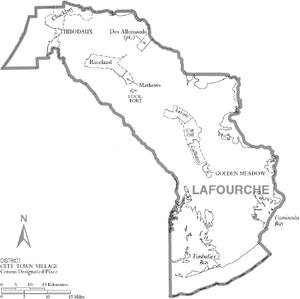 Map of Lafourche Parish Louisiana With Municipal Labels