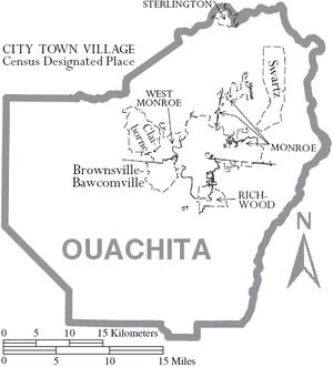 Map of Ouachita Parish Louisiana With Municipal Labels