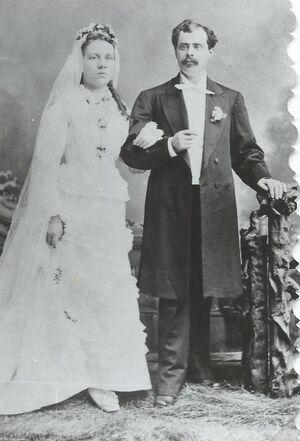 1877 marriage of Peder Matthias Olsen (1849-1896) and Anne Marie Jensen (1854-1896) in Chicago, Illinois