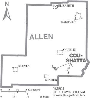 Map of Allen Parish Louisiana With Municipal Labels