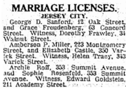 Sanford Freudenberg 1922 marriage license