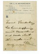 Louis Julius Freudenberg I (1894-1918) letter from physician 1916
