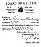 Freudenberg-Eugene 1900 birth certificate