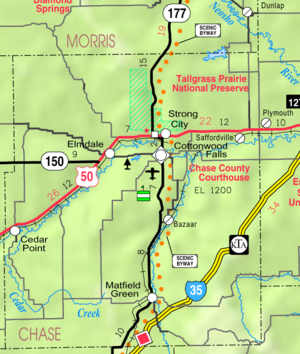 Map of Chase Co, Ks, USA