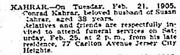 Kahrar-Conrad 1905 death