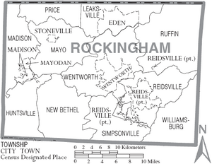Map of Rockingham County North Carolina With Municipal and Township Labels