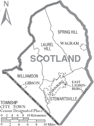 Map of Scotland County North Carolina With Municipal and Township Labels