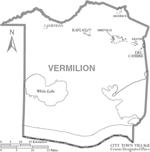 Map of Vermilion Parish Louisiana With Municipal Labels