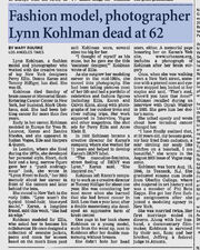 Lynn Eleanor Kohlman obituary Los Angeles Times