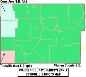 Map of Warren County Pennsylvania School Districts