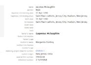Mclaughlin-James 1892 birth