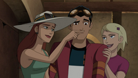 Claire gives Rex a fake mustache