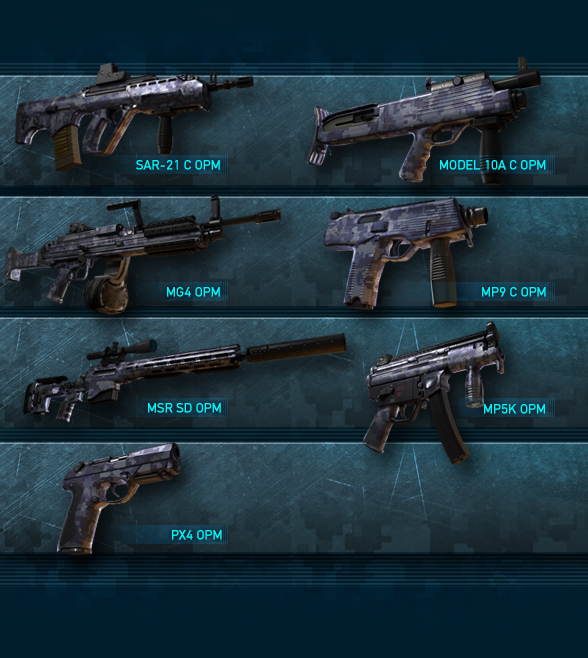 Omega Pack Weapons