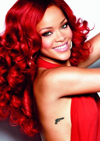 image dress gun red red hair rihanna glee tv show wiki fandom powered. Black Bedroom Furniture Sets. Home Design Ideas