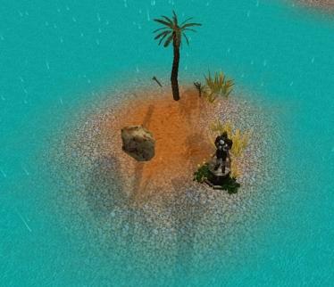 Statue on isolated isle