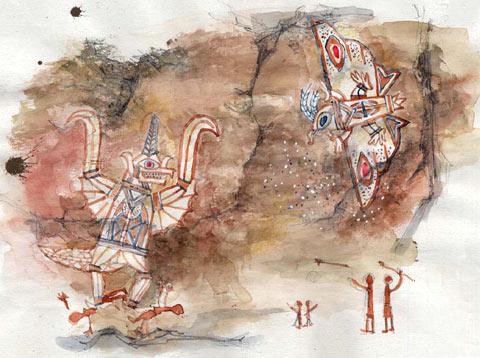 File:Concept Art - Godzilla Final Wars - Shobijin Cave Mural 1.png