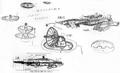 Concept Art - Godzilla Final Wars - Gotengo Dish and Karyu Dish
