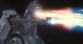 Super MechaGodzilla firing the Mega-Buster Ray and the Garuda's cannons