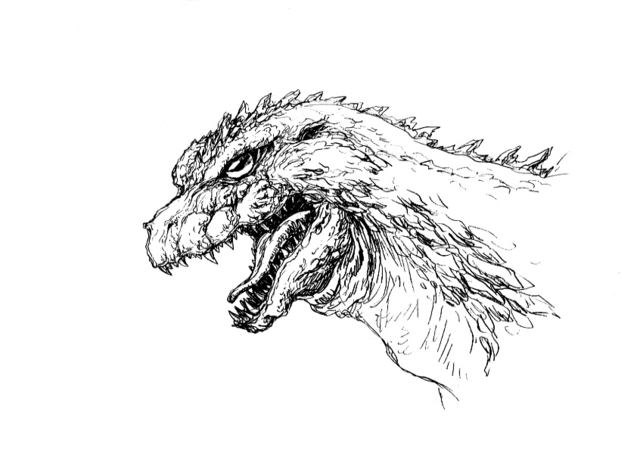 File:Concept Art - Godzilla 2000 Millennium - Godzilla Head 7.png